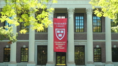 Harvard University. Harry Elkins Widener Memorial Library. Stock Footage