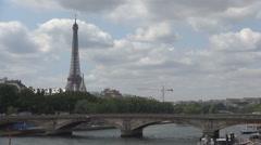 City Landscape Paris Panoramic View Seine Bridge Tour Eiffel Traffic Boat Stock Footage