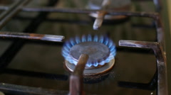 Turn on the gas stove Stock Footage