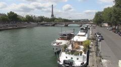 Seine River Anchored Boats Paris Famous Tourism Romantic Landscape Urban Travel - stock footage