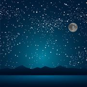 The lake, the mountains, the starry sky. Eps 10. - stock illustration