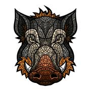Head of boar mascot color in mosaic style - stock illustration