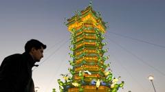 Festival of Chinese lanterns Milan in November 2015 Boy looks at Chinese lantern Stock Footage