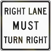 United States MUTCD regulatory road sign - Right lane must turn right Stock Illustration