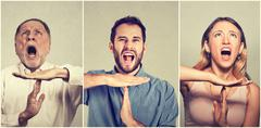 Group of people showing time out hand gesture, frustrated screaming to stop - stock photo