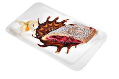 Slice cherry strudel on white ceramic plate rectangular shape. - stock photo