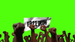 Many arms punching the air with freedom banner - stock footage