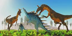 Cryolophosaurus attacks Kentrosaurus - stock illustration