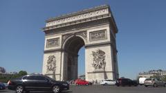 Triumphal Arch Square Monument Central Paris Symbol Place Tourism Attraction Stock Footage