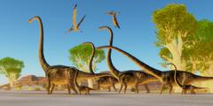 Jurassic Omeisaurus Forest - stock illustration