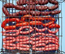Grilled sausages at bar b cue Stock Photos