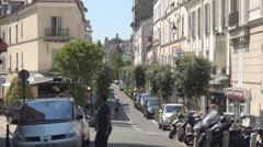 Traditional Paris Streets Neighborhood Buildings View Urban Tourism Travel - stock footage