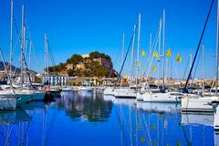 Denia marina Port and Castle in Alicante at Spain Stock Photos