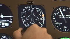 Cockpit small airplane instruments for flight simulator training Stock Footage