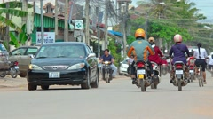 Typical traffic in Siem Reap, Cambodia, with sound. Video 3840x2160 Stock Footage