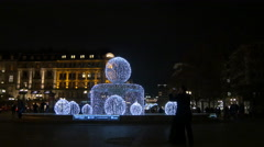 Alte Oper with special Christmas illumination of the fountain in Frankfurt Stock Footage