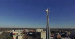Athens Aerial Church Chapel Cross Tower Sun Sky Track Around Stock Footage