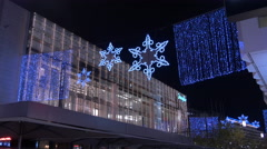 Blue Christmas lights over Zeil street at  Christmas in Frankfurt Stock Footage