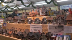 German porcelain candle houses at the Christmas market in Frankfurt - stock footage