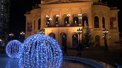 Old Opera with special Christmas decorations of the fountain, Frankfurt Stock Footage