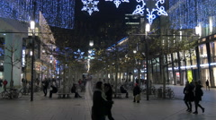 Walking and relaxing on Zeil street on Christmas in Frankfurt Stock Footage