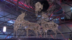 Reindeer Christmas ornaments at My Zeil shopping mall in Frankfurt Stock Footage