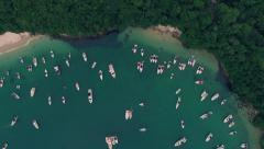 Aerial View of Boats at Secluded Beach in Angra dos Reis, Rio de Janeiro, Brazil Stock Footage