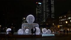 Special Christmas illumination of the fountain in Opernplatz, Frankfurt Stock Footage