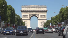 Champs-Elysees Avenue Crowded Boulevard Traffic Cars Triumphal Arch Background Stock Footage