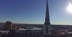 Athens Aerial City Church Chapel Tower Cross Sun Skyline Track Around Stock Footage