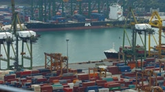 Ongoing operations at singapore's huge shipping container yard Stock Footage