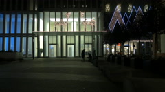 Standing near the reindeer lights ornaments at My Zeil shopping mall, Frankfurt Stock Footage