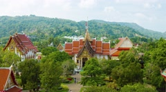 Overlooking view of Wat Chalong temple complex in Phuket. Video UltraHD Stock Footage