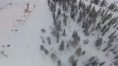 Aerial shot over ski slope Stock Footage