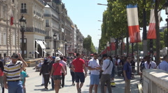 Tourists Visiting France Cultural Capital Paris Avenue Champs-Elysees Sidewalk Stock Footage