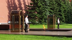 Changing guards in Alexander's Garden near eternal flame on July 11, 2015 in Stock Footage