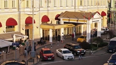 Entrance to the famous Balchug hotel in Moscow, Russia Stock Footage