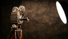 Vintage Hollywood Movie Camera and Theater Stage Spotlight with Fresnel Lens Stock Footage