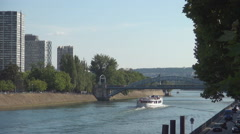 Metallic Bridge Old Landmark Seine River Boats Traffic Tourist Visiting Paris Stock Footage