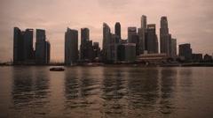 Singapore city skyline sunset Stock Footage