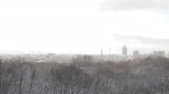 Snowfall over the city. Stock Footage