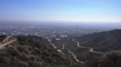 View of Los Angeles Valley from Runyon Canyon  	 Stock Footage