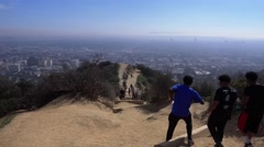 Hikers in Runyon Canyon State Park  	 Stock Footage