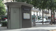 Automated Public Toilet Paris Streets Peoples Necessary Place Exterior Closet Stock Footage