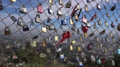 Locks Attached to Fence at Runyon Canyon  	 Stock Footage
