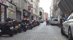 Paris City Traditional Street Quiet Morning Day Traditional Residential Area - stock footage