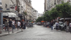 Paris Streets Architecture Tourists Visit Shopping Area Pedestrians Strolling Stock Footage