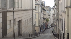 Beautiful Old Traditional Street Paris Contemporary Architecture Buildings View Stock Footage