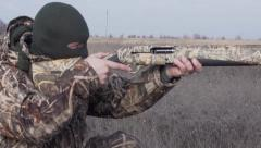 Shooter fires a five-shot rifle Slow Motion Stock Footage