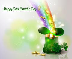 St Patricks day green hat  with rainbow - stock illustration